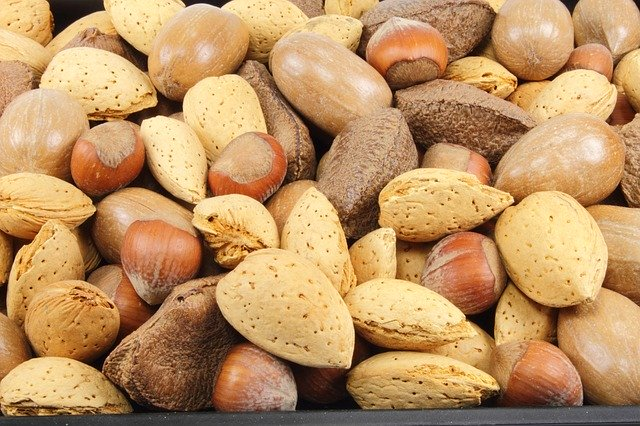 mandle a lískové ořechy ve skořápce